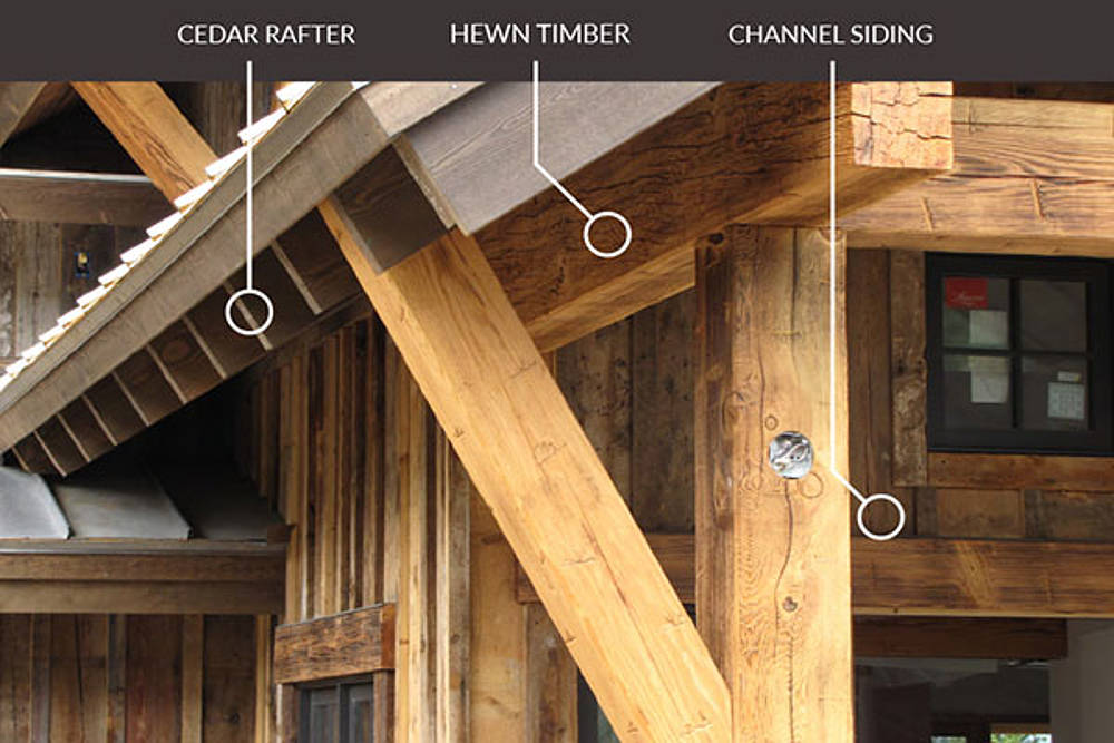 Examples of cedar rafter, hewn timber and channel siding