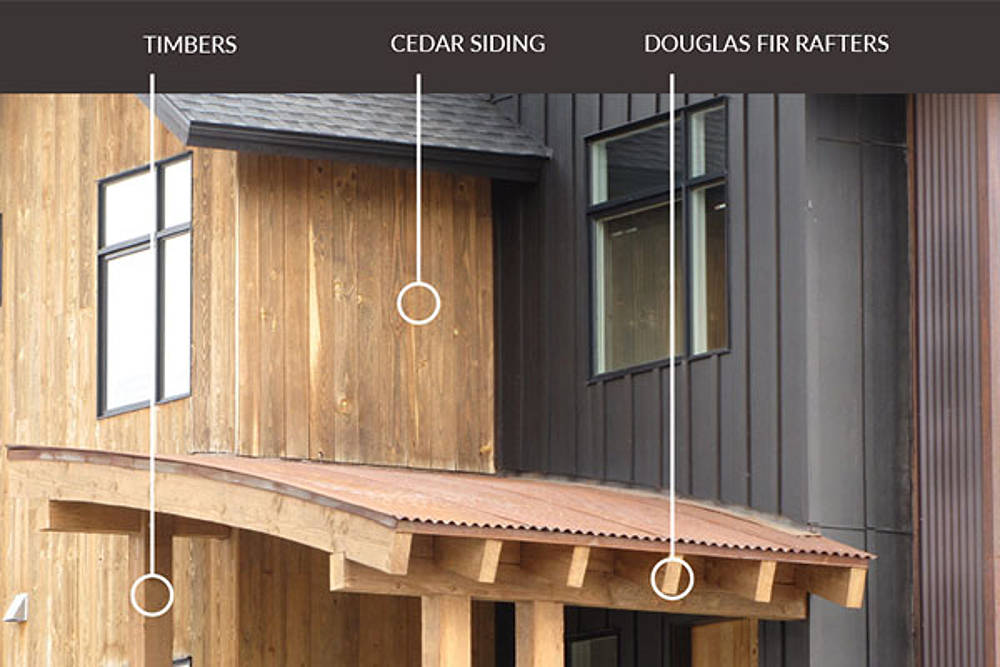 Examples of timbers, cedar siding, and Douglas fir rafters