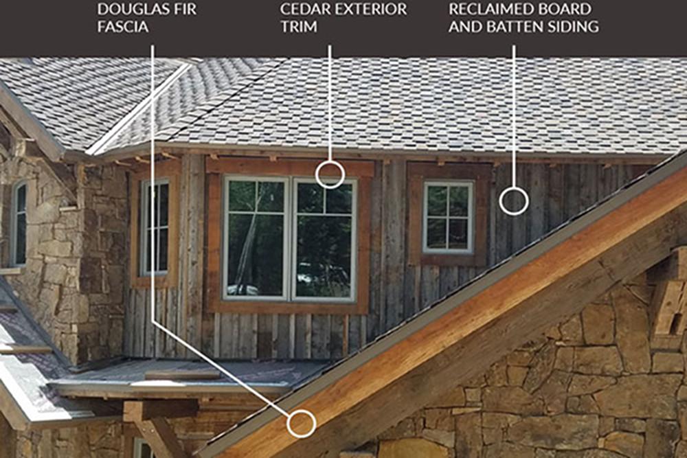 Examples of Douglas fir fascia, cedar exterior trim, and reclaimed board and batten siding