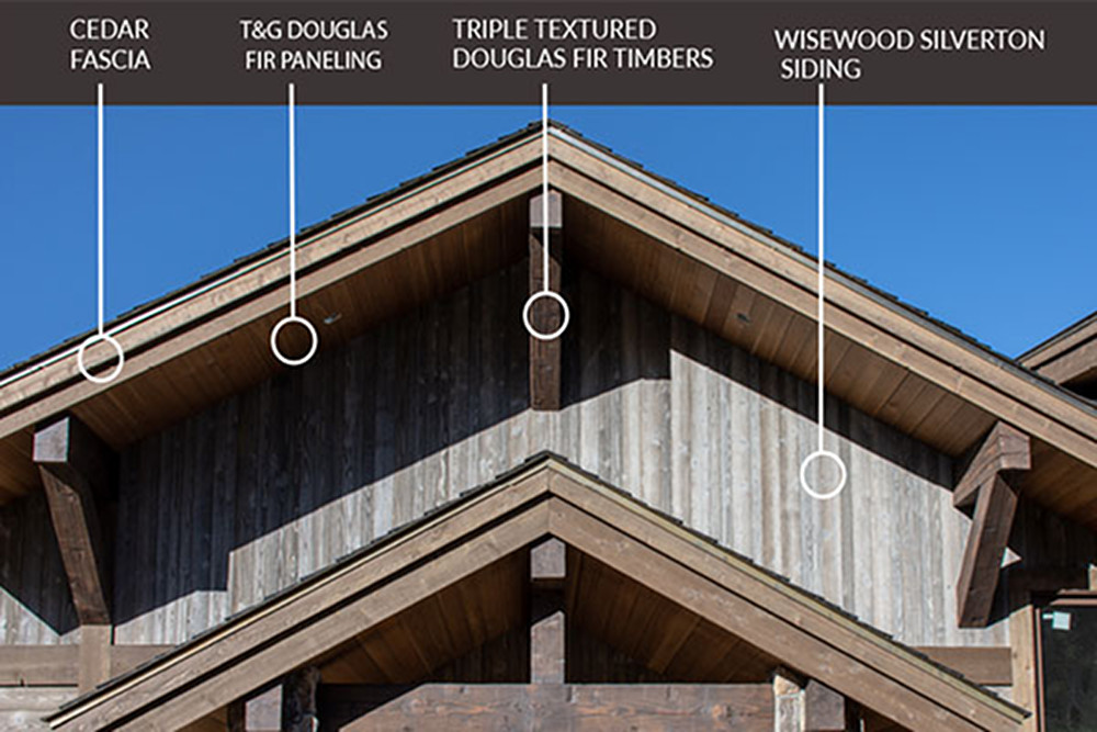 Examples of cedar fascia, T&G Douglas fir paneling, triple textured Douglas fir timbers, and wisewood silverton siding
